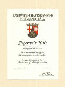 Weingut Bastianshauser Hof- Siegerwein 2010