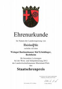 Weingut Bastianshauser Hof - Ehrenurkunde Staatsehrenpreis 2012