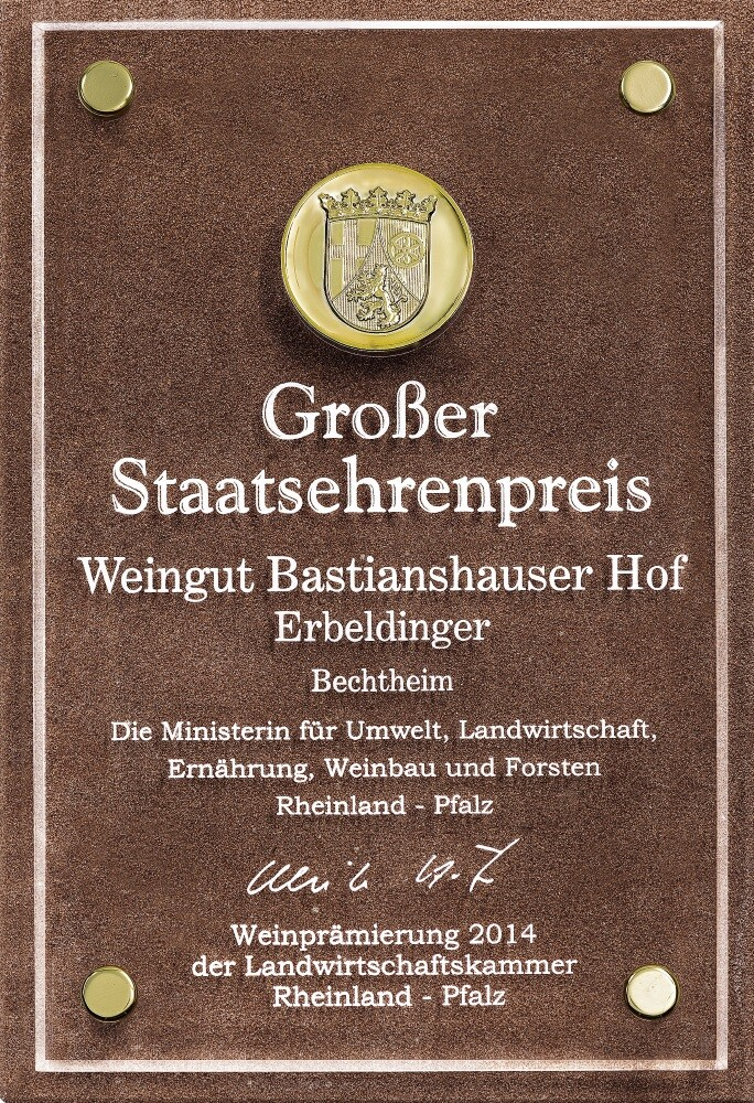 Weingut Bastianshauser Hof - Großer Staatsehrenpreis 2014