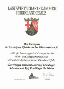 Weingut Bastianshauser Hof - 2016 Ehrenpreis