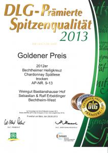 Weingut Bastianshauser Hof - DLG Goldener Preis 2013