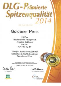 Weingut Bastianshauser Hof - DLG 2014 Goldener Preis Extra 2014