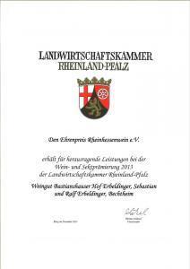 Weingut Bastianshauser Hof - Ehrenpreis 2013