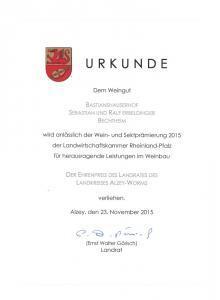 Weingut Bastianshauser Hof - Ehrenpreis 2015