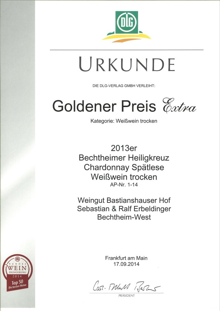 Weingut Bastianshauser Hof - Goldener Preis Extra 2014