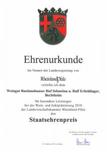 Weingut Bastianshauser Hof - Staatsehrenpreis